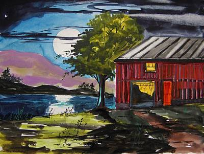 Red Barns Drawing - Moonrise Light by John Williams