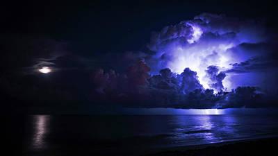 Photograph - Moonrise Lightning Delray Beach Florida by Lawrence S Richardson Jr