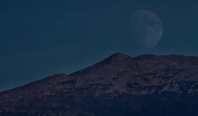 Photograph - Moonrise Mount Adams by Benjamin Dahl