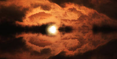 A Hand-thrown Photograph - Moonrise On A Lake Of Sadness by Darin Baker