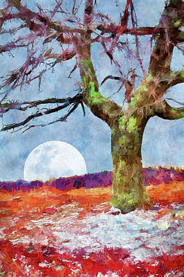 Digital Art - Moonrise On A Snowy Day Ap by Dan Carmichael