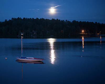 Photograph - Moonrise On Mirror Lake Lake Placid New York Ny by Toby McGuire