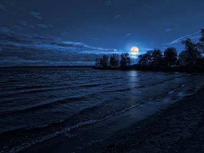 Photograph - Moonrise On The Beach by Linda Unger