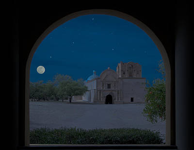 United States Mission Church Photograph - Moonrise On Tumacacori Mission by Sandra Bronstein