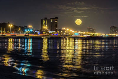 Photograph - Moonrise Over Biloxi by Brian Wright