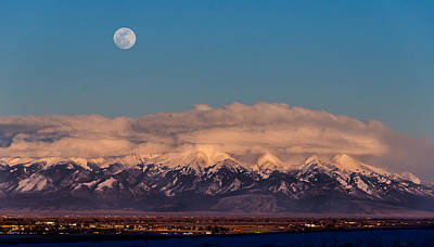 Moonrise Over Mount Blanca Winter San Luis Valley Colorado Art Print