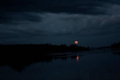 Moonrise Over Blue Hill Bay Art Print by Greg DeBeck