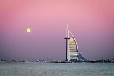 Photograph - Moonrise Over Burj Al Arab by Alexey Stiop