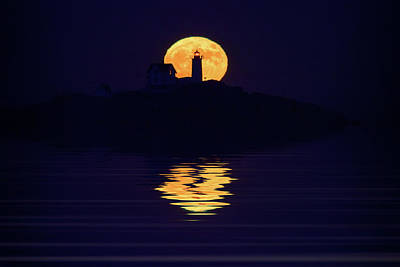Supermoon Photograph - Moonrise Over Cape Neddick by Rick Berk