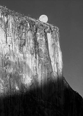 Photograph - M-m6506-e-bw-moonrise Over El Capitan At Sunset  by Ed  Cooper Photography