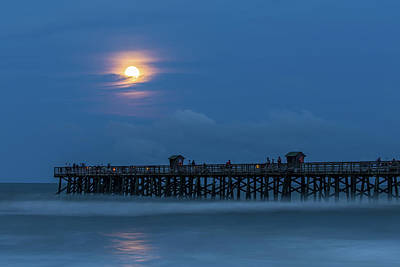 Photograph - Moonrise Over Flagler Beach Pier by Stefan Mazzola