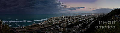 Shore Photograph - Moonrise Over Haifa Bay by Nadya Ost