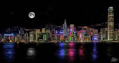 Photograph - Moonrise Over Hong Kong by Endre Balogh