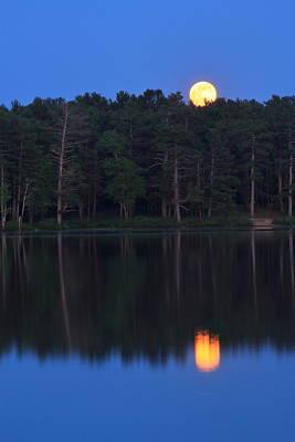 Photograph - Moonrise Over Lake by John Burk