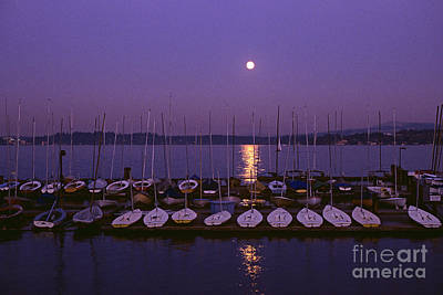 Photograph - Moonrise Over Lake Washington With Marina by Jim Corwin