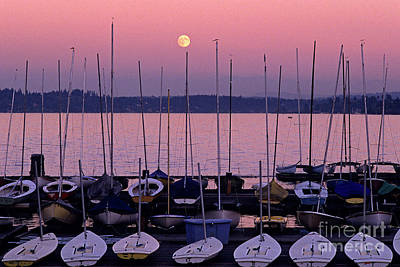 Photograph - Moonrise Over Lake Washington With Sailboats by Jim Corwin