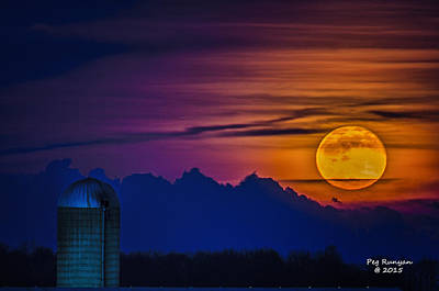 Photograph - Moonrise Over Michigan Farm by Peg Runyan