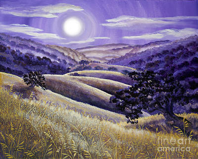 Bello Painting - Moonrise Over Monte Bello by Laura Iverson