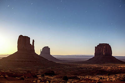 Moonrise Over Monument Valley Art Print