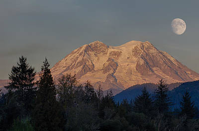Photograph - Moonrise Over Mt. Rainier by Leah Palmer
