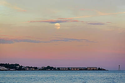 Photograph - Moonrise Over Nahant From Revere Beach Revere Ma by Toby McGuire
