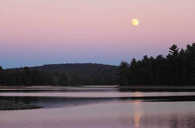 Photograph - Moonrise Over Quabbin Reservoir by John Burk