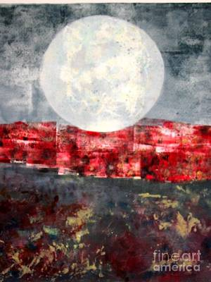 Printmaking Mixed Media - Moonrise Over Red by J L Carothers