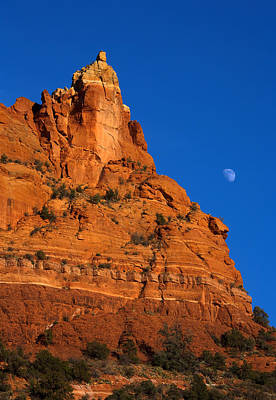 Pass Photograph - Moonrise Over Red Rock by Mike  Dawson