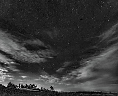 Sauble Photograph - Moonrise Over Sauble Beach Bw by Steve Harrington