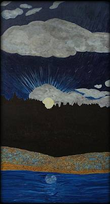 Nightsky Painting - Moonrise Over The Bluff by Kristol Jones