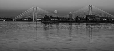 Photograph - Moonrise Over The Cable Bridge - Black And White by Loree Johnson