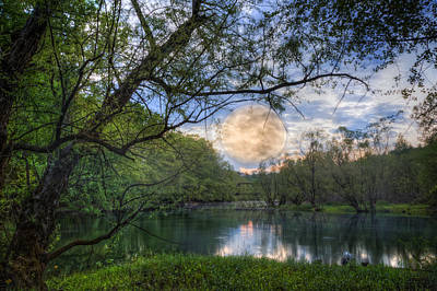 Moonrise At Sunset Photograph - Moonrise Over The Lake by Debra and Dave Vanderlaan