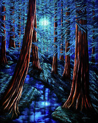Moonlit Night Painting - Moonrise Over The Los Altos Redwood Grove by Laura Iverson