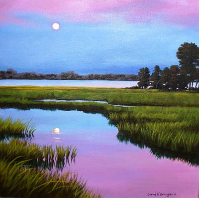Painting - Moonrise Over The Marsh by Sarah Grangier
