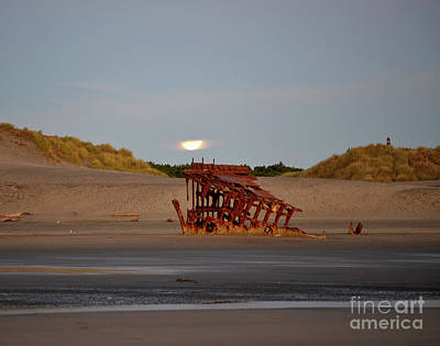 Photograph - Moonrise Over The Peter Iredale by Denise Bruchman