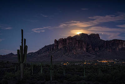 Photograph - Moonrise Over The Superstitions by Saija Lehtonen