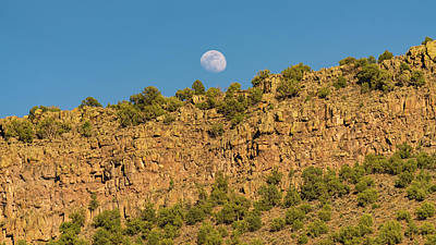 Photograph - Moonrise Rio Grande Gorge Pilar New Mexico by Lawrence S Richardson Jr