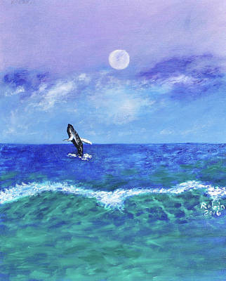 Cape Cod Painting - Moonrise by Robin Manning