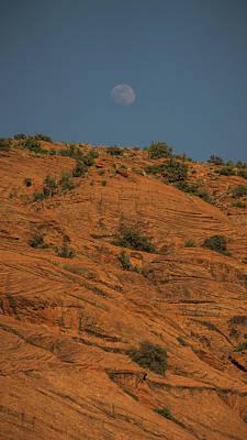Photograph - Moonrise Snow Canyon State Park Utah Vertical 2 by Lawrence S Richardson Jr