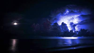 Photograph - Moonrise Lightning 2 Delray Beach Florida  by Lawrence S Richardson Jr