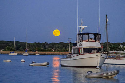 Photograph - Moonrise Vineyard Haven by Paul and Janice Russell