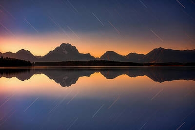 Moonglow Photograph - Moonset At Moran by Darren White