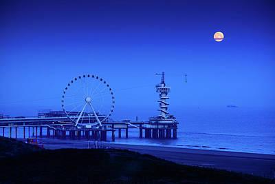 Photograph - Moonset At Scheveningen Pier by Joe Doherty