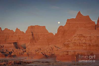 Moonset Badlands National Park Art Print