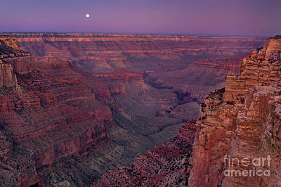 Photograph - Moonset From Cape Royal North Rim Grand Canyon Nationa by Dave Welling