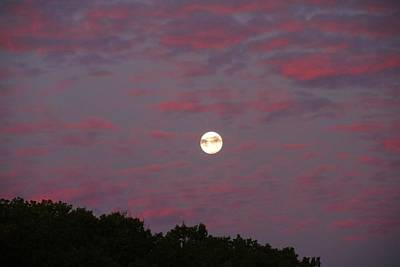 Photograph - Moonset In Colorful Clouds by Kathryn Meyer