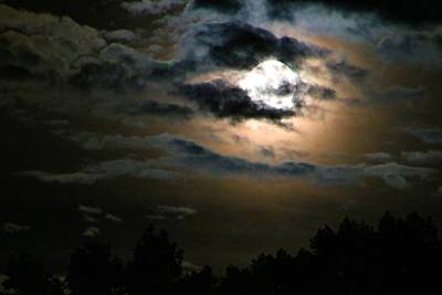 Photograph - Moonset In The Clouds 1 by Kathryn Meyer