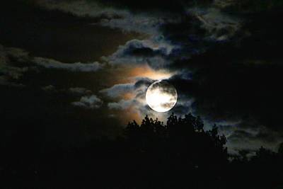 Photograph - Moonset In The Clouds 2 by Kathryn Meyer