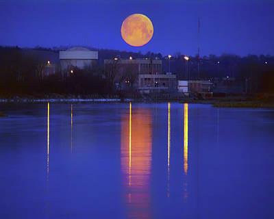 Photograph - Moonset On Nuclear Power - Blair - Nebraska by Nikolyn McDonald