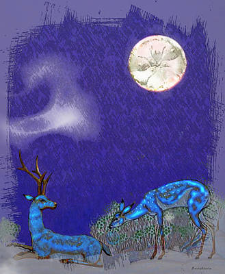 Digital Art - Moonset Over Blue Deer by Anastasia Savage Ealy